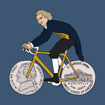 Thomas Jefferson on bike with nickel wheels, 5x5 print