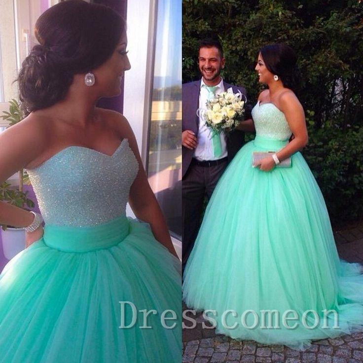Top Selling 2016 Empire Waist Mint Prom Dress,Sweetheart Beaded Ball ...