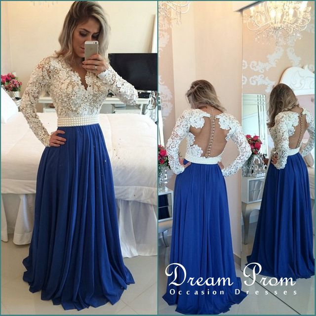 Navy Blue A-line Long Sleeve Lace Long Prom Dresses, Evening Dress ...