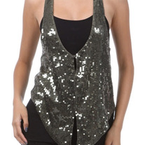 Khaki Sequin Glitzy Vest Party Tank Glitter Top S M
