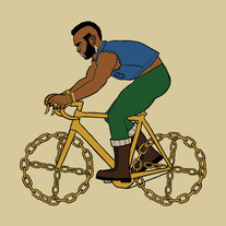 Mr. T riding bike with gold chain wheels, 5x5 print