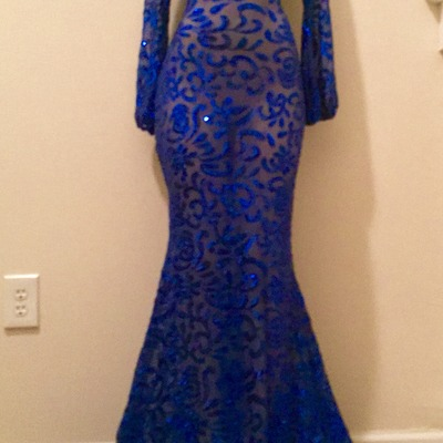 "Custom ""london"" royal blue sheer and sequin keyhole fitted drag tail dress"