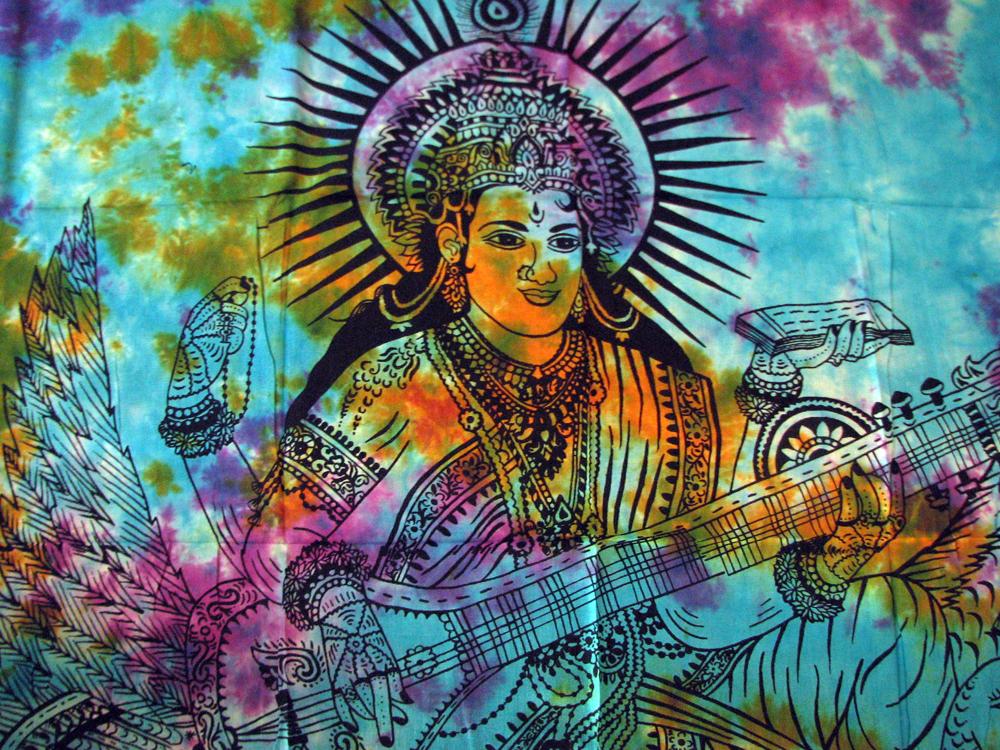Goddess Saraswati Om Chakra Indian Tie Dye India Wall