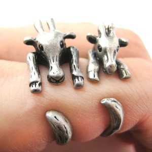 Realistic Giraffe Animal Wrap Ring in Silver Sizes 4 to 9 Available