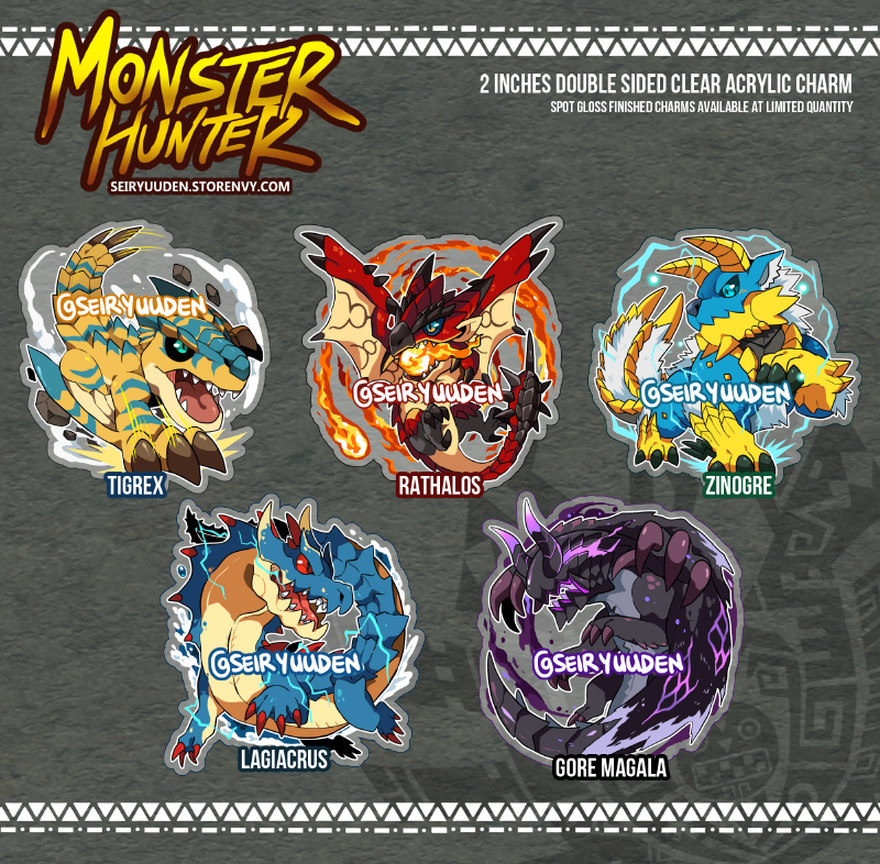 Monster Hunter Clear Acrylic Charms · Seiryuuden\'s Shop · Online ...