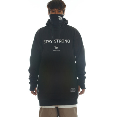 [season off sale] ehoto ski & snowboard hoodie drift line (windproof) - stay strong (black)