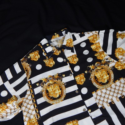 Large gold medallion and rope black and white baroque button up shirt