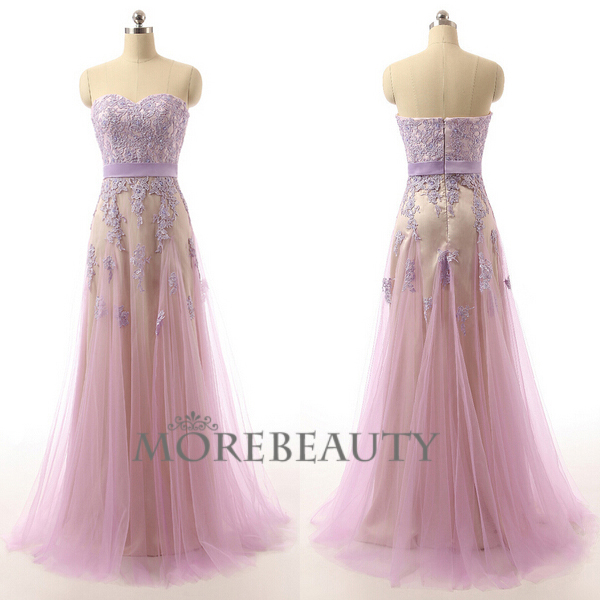 106 Charming A-Line Tulle Prom Dress,Noble Sweetheart Appliques ...