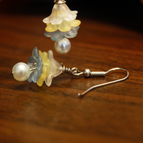 Blue, Yellow, and White Layercake Earrings