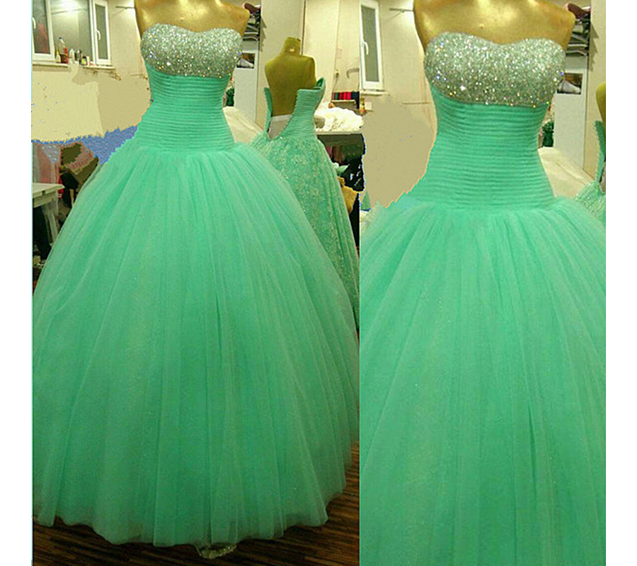 Mint Green Ball Gown Prom Dresses ,Modest Quinceanera Dresses ...
