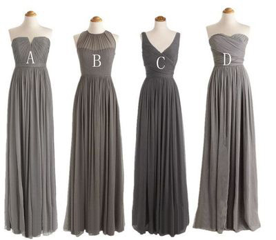Charcoal Grey Bridesmaid Dresses Long Bridesmaid Dresses