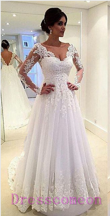 Long Sleeves White Lace Wedding Dresses V Neck Beach Wedding Dress ...
