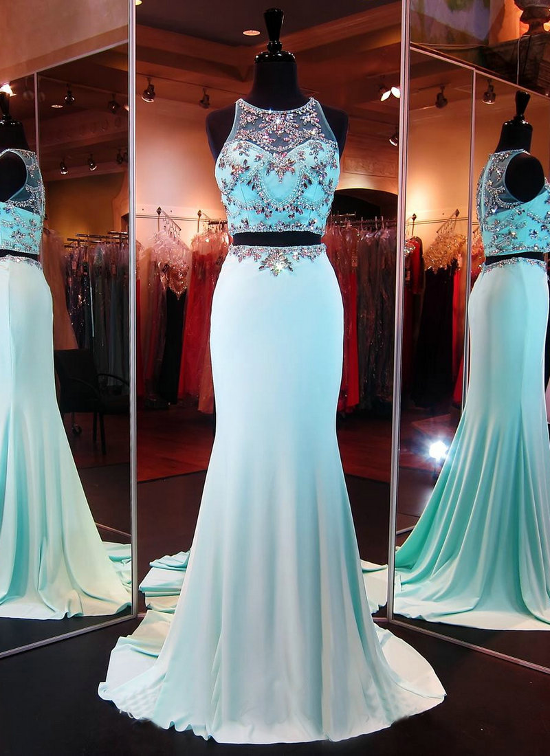 New Arrival Two Pieces Beaded Prom Dresses,Modest Prom Dress ...