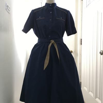 80's does 50's navy dress