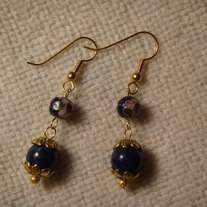 Blue Cloisonne & Blue Jade Earrings
