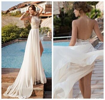 Lace backless cocktail dress