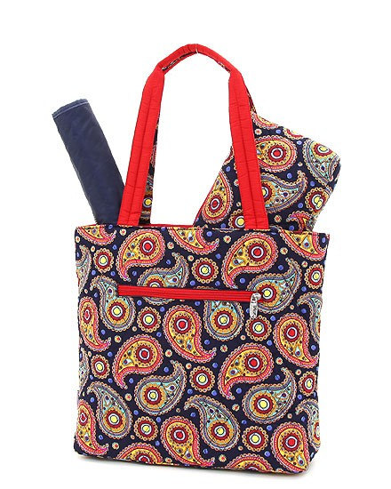 Navy Red Paisley Pattern Quilted Personalized Diaper Bag From Designs By Daffy