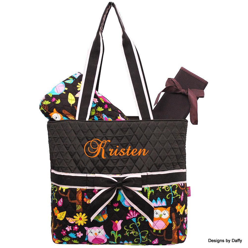 Owl Pattern Quilted Personalized Diaper Bag From Designs By Daffy