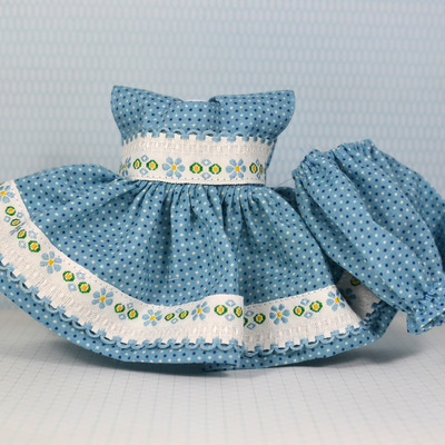 Special edition dress & panty set-slate blue polka dot