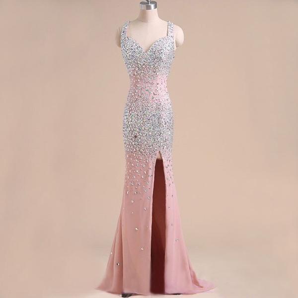 mermaid prom dress, Mint prom dress, rhinestone prom dress, chiffon ...