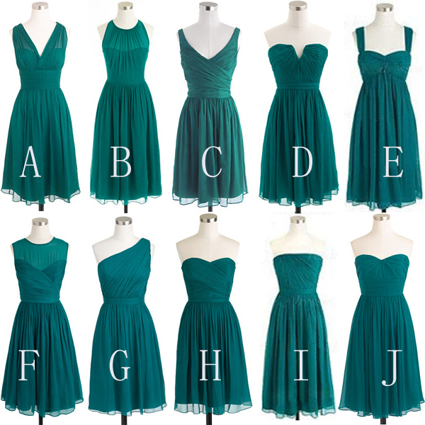 Simple Chiffon Bridesmaid Dresses,Dark Green Short Bridesmaid ...