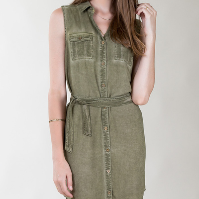 Geneva dress in burnt olive