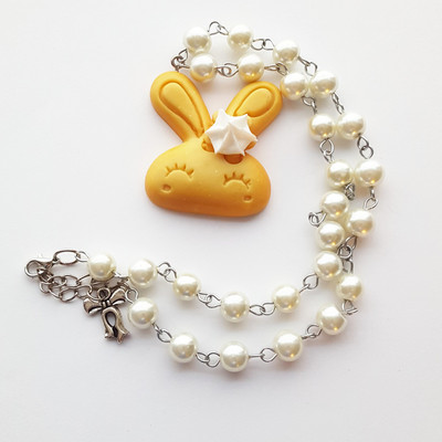 Pearl resin bunny rabbit biscuit cookie frosting short necklace kawaii harajuku fashion