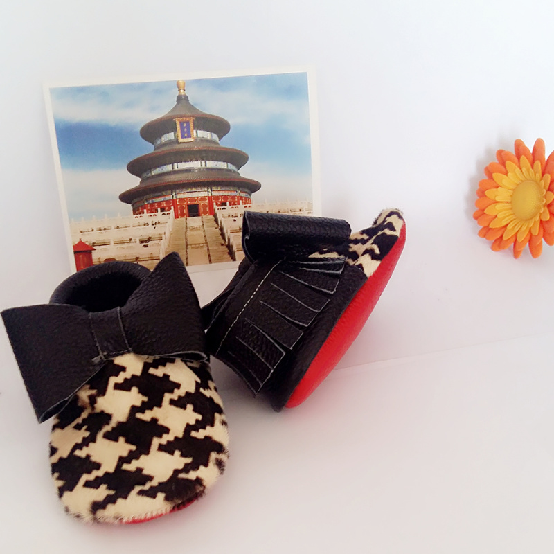 27e4eed76e9 Angelababymoccs Houndstooth Print Baby Leather Moccasins Black Double Bow  Red Soft Sole Baby Moccs Toddler Shoes