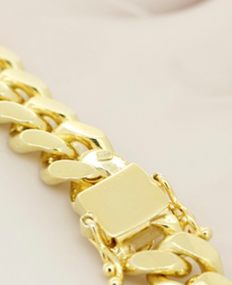 Miami cuban link chain with box lock clasp 925 sterling silver yellow gold finish 10mm 207g - How to open chain lock ...