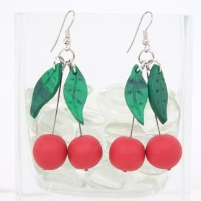 Cherry red dangle earrings - fruit summer gifts for her