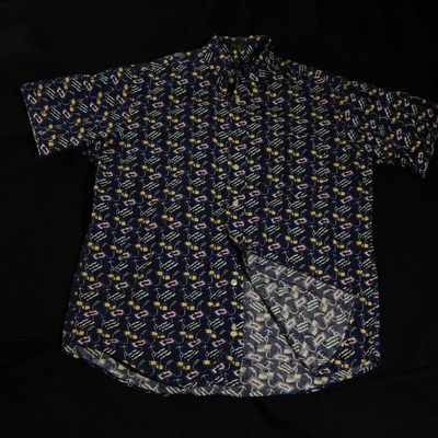 Club room shortsleeve allover flag print button up size medium
