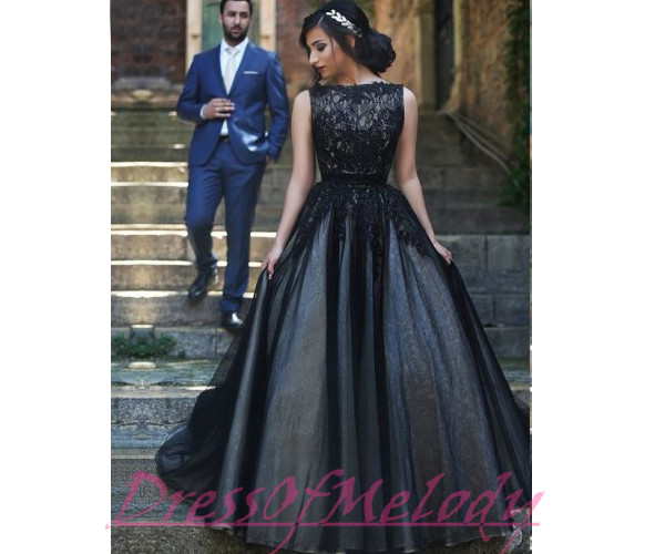 Black Prom Dresses 2016 Princess With Sheer Lace Bodice Long Evening ...
