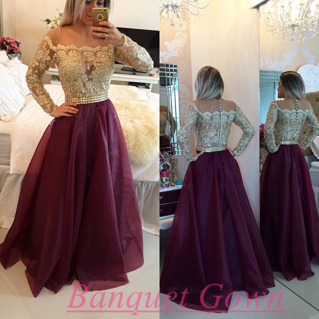 2016 Long Sleeves Wine Red Prom Dresses Beaded Burgundy A-line ...