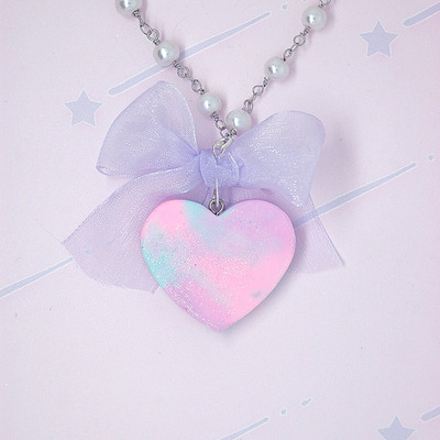 Marble pastel heart with bow♡03