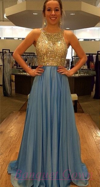 2016 Crystals Chiffon Prom Dresses Open Back Gold Blue Long Luxury A ...