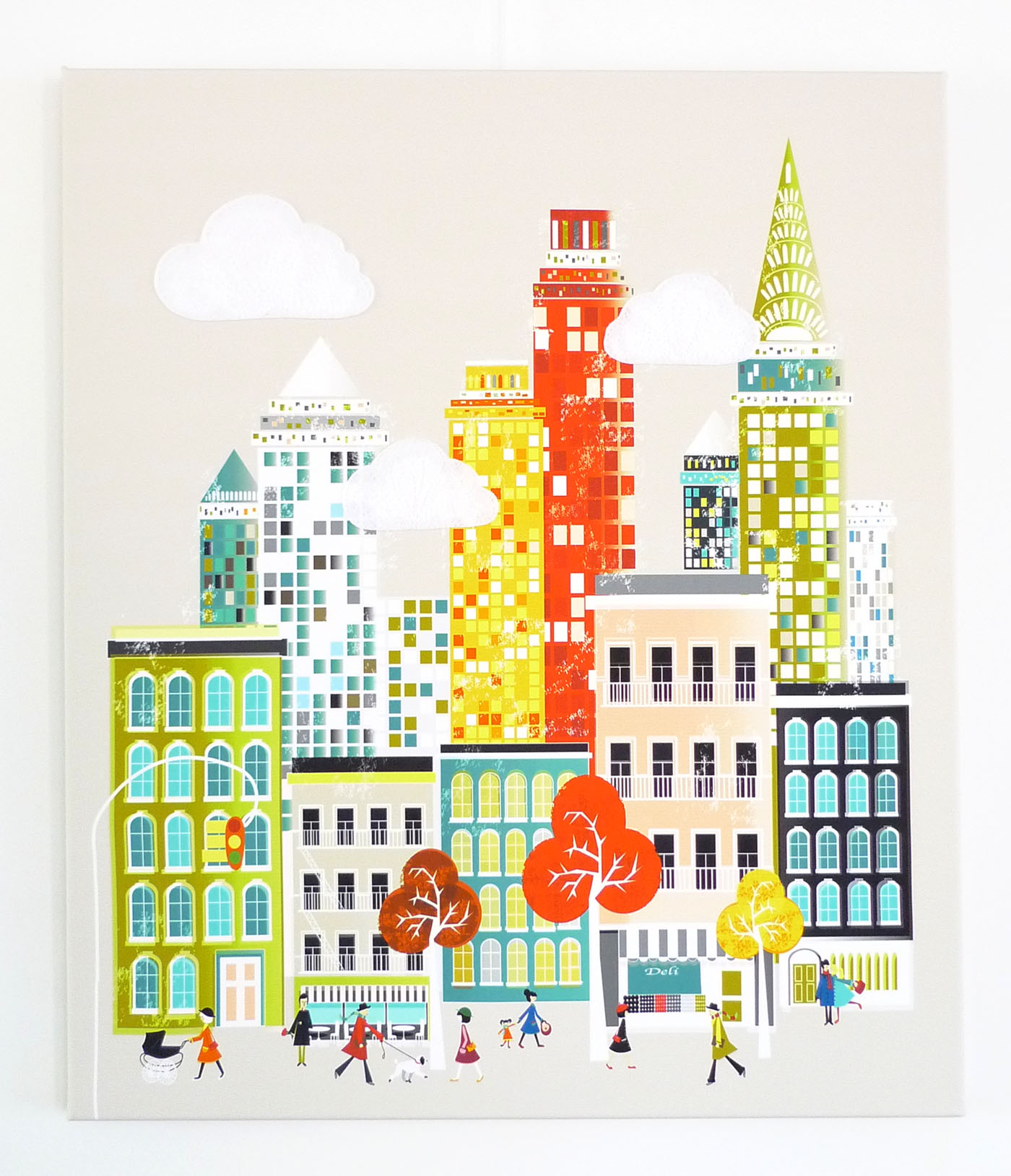 New York Wall Art, Manhattan Skyline, Framed Canvas Wall Art, Cityscape  Illustration,