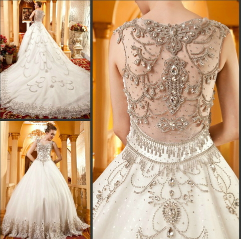 Yz real sample crystal beaded beautiful wedding dresses Wedding dresses with crystal beading