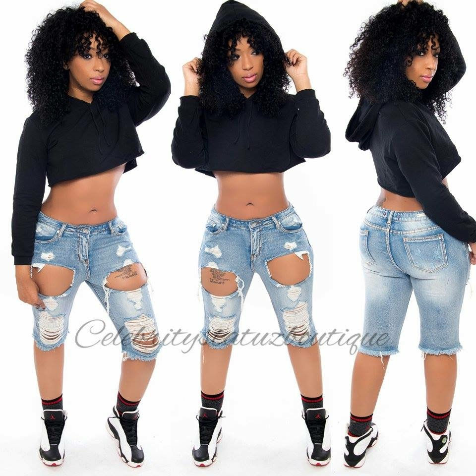 Celebrity Statuz Boutique | Distressed Bermuda Shorts | Online ...