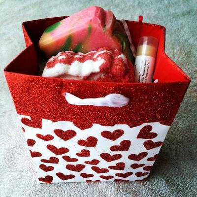 Small gift bag handmade bath and body products valentines day, birtday