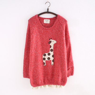 White/red/yellow kawaii pullover with little deer printing sp165118