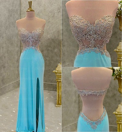 Long sleeve prom dress, gold prom dresses, lace prom dresses, cheap ...