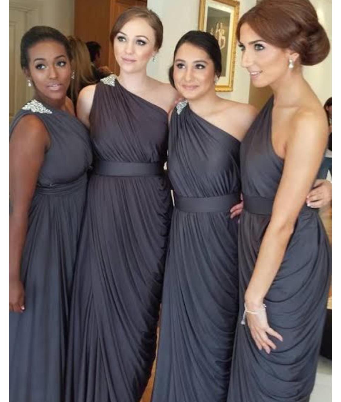 One-shoulder ruching chiffon floor length bridesmaid dress ...