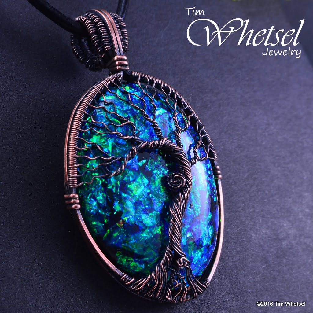 Copper tree of life wire wrap pendant opalescent orognite copper tree of life wire wrap pendant opalescent orognite handmade thumbnail 1 aloadofball Gallery