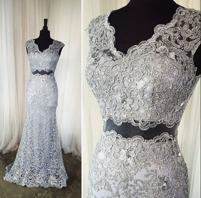 Two Pieces Sheath Lace Long Prom Dresses,Silver Charming Prom Dress ...