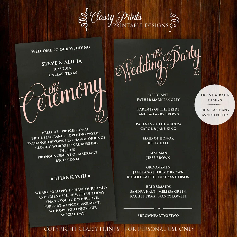 Printable Wedding Program - Wedding Program Template - DIY Wedding ...