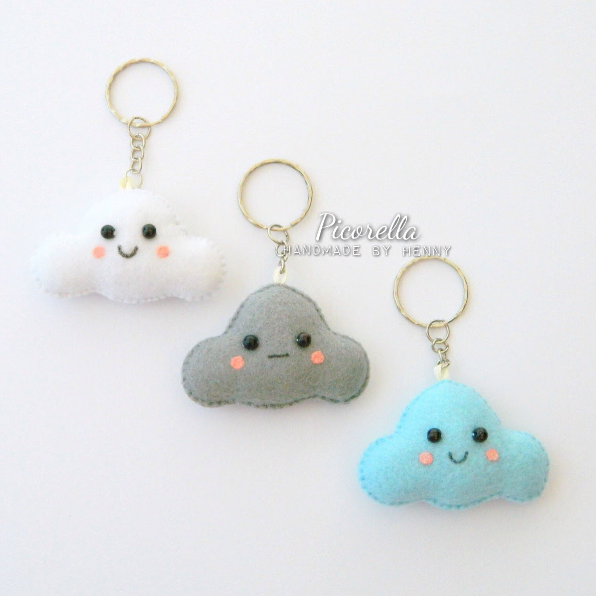 Felt Cloud Keychain, Kawaii Cloud, Felt Cloud Party Favor