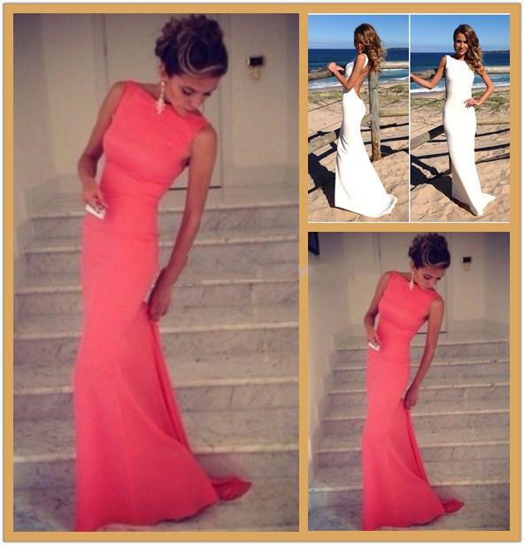 High Neck Bateau Simple Chiffon Backless Prom Dress
