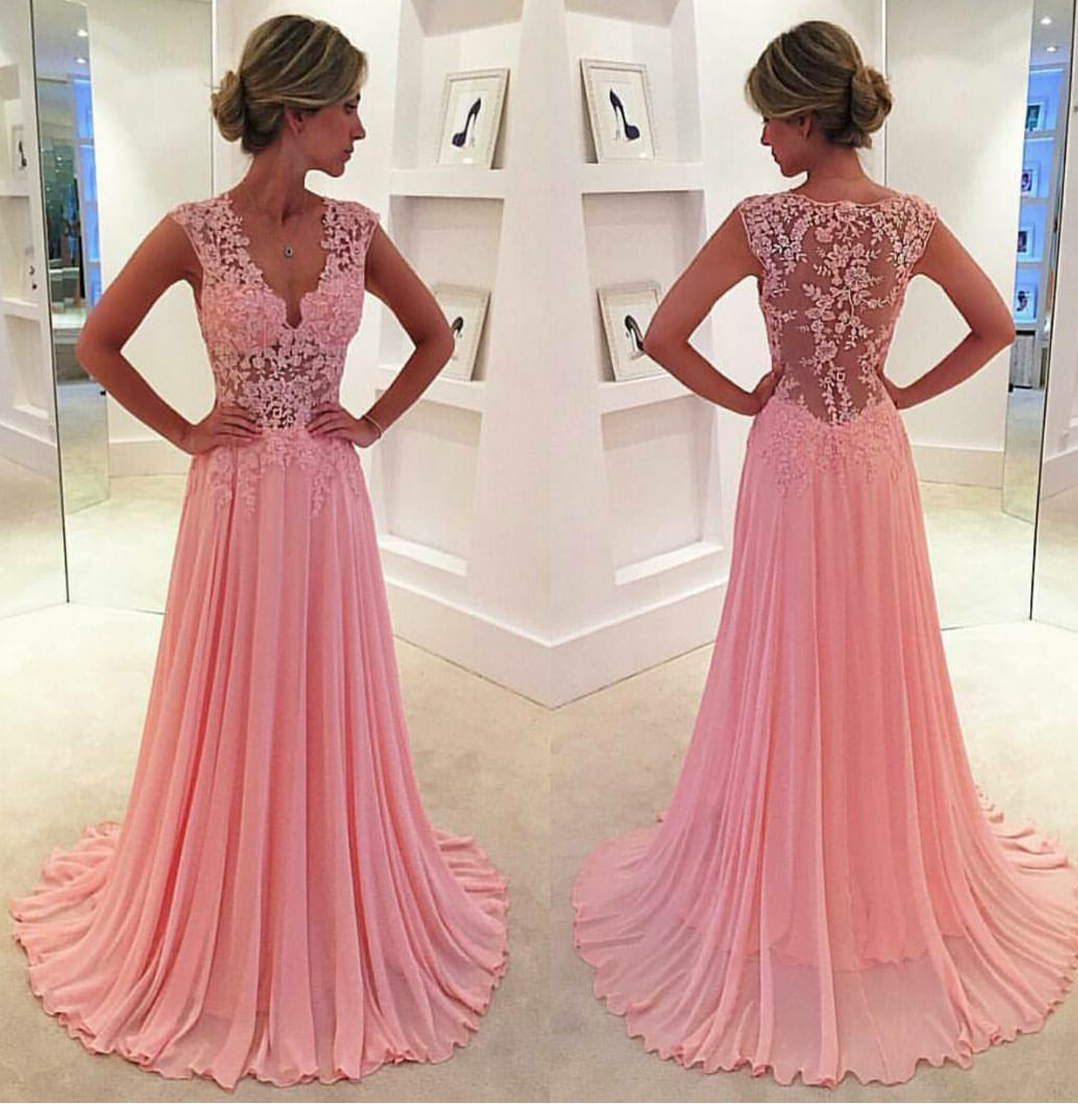 Lace V-neck see-through long chiffon prom dress Blush Pink Vintage ...