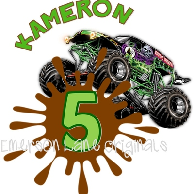 Grave digger monster truck/jam birtday shirt - party monogram - personalized tee
