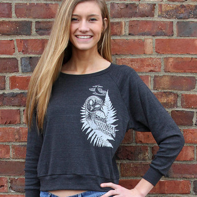 Gift for women, owl sweatshirt, tri blend, graphic tee, scoop neck shirt, owl shirt, owl pullover, womens bird shirt